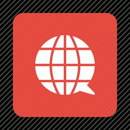 bubble, chat, communication, global, globe, internet, message icon