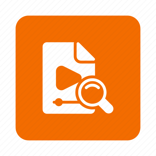 Search, videofile, video, file, magnifier, findvideo, magnifying icon
