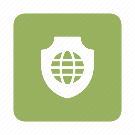 Secure, globe, global, protection, safety, security, shield icon