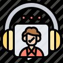 customer, headphone, listening, operator, service