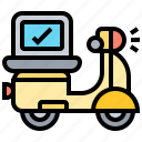 courier, delivery, package, scooter, service