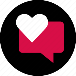 bubble, chat, conversation, heart, sms, talk icon