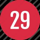 count, nine, number, numero, track, twenty icon