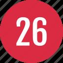 count, number, numero, six, track, twenty icon