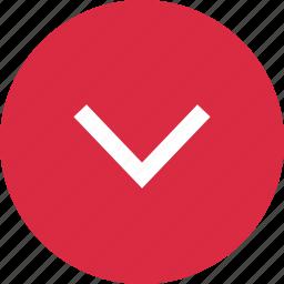 arrow, circle, down, download, menu icon