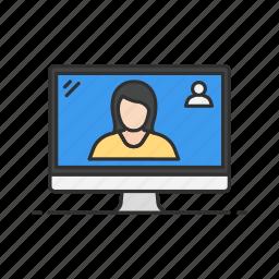 desktop, online, online chat, skype, video, video call icon