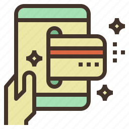card, credit, hand, holding, mobile, payment icon
