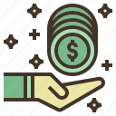 back, cash, coin, money, receive, value icon