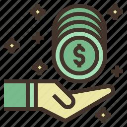 back, cash, coin, money, receive, value icon