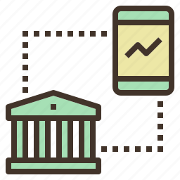 banking, chart, investment, mobile, trade icon