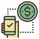 check, coin, mobile, money, payment, transfer icon
