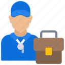 avatar, bag, briefcase, business, coach, job, user