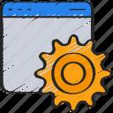 browser, cog, cogwheel, development, web, window icon