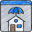 browser, house, insurance, insure, insured, online, umbrella icon