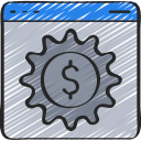 dolla, management, cogwheel, money, browser, cog, online