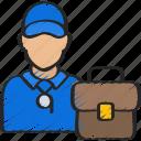 avatar, bag, briefcase, business, coach, job, user icon