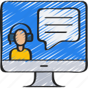 assistant, avatar, computer, digital, headset, textline, user icon