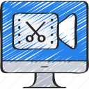 computer, cut, edit, editing, footage, online, video icon