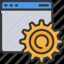 browser, cog, cogwheel, development, web, window