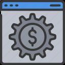 browser, cog, cogwheel, dolla, management, money, online