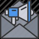 advertise, email, envelope, mail, market, marketing