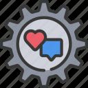 cog, cogwheel, heart, management, media, online, social