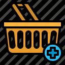 adding, basket, online, shopping, store icon