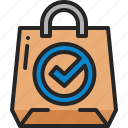confirm, check, mark, shopping, bag, verification, approve