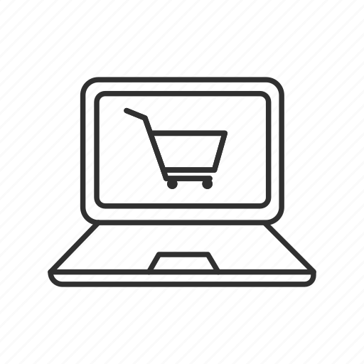 cart on laptop, ecommerce, laptop, online, online shopping icon