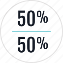 data, fifty, half, info, infographic, information, percentage icon