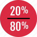 data, eighty, info, infographic, information, percent, twenty icon