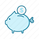 bank, cash, coin, credit, finance, money, piggy icon
