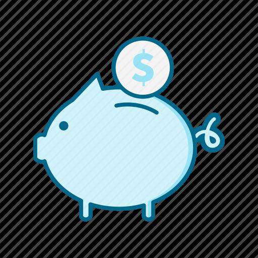 bank, cash, coin, credit, finance, money, piggy icon