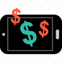 dollar, mobile, web icon