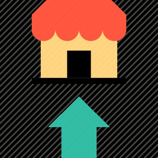 arrow, shop, up icon