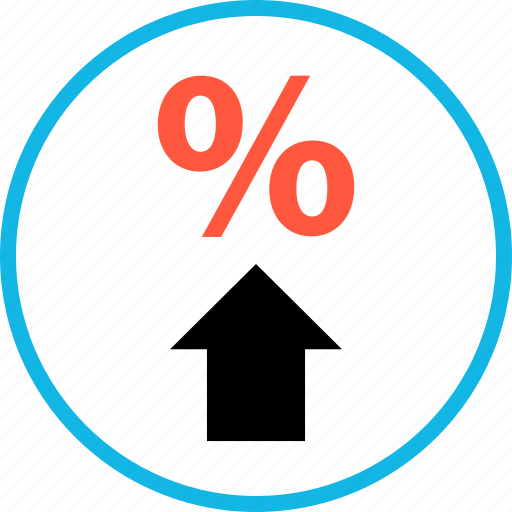 percent, rate, up icon