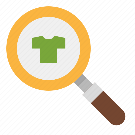 commerce, glass, magnifying, online, shirt, shop, shopping icon
