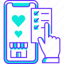 favorite, heart, mobile, select, shop, smartphone, wishlist icon