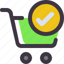 buy, cart, check, shopping, trolley icon