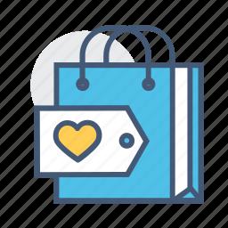 favorite, holder, love, online, shopper, shopping, shopping bag icon