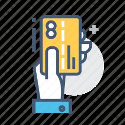card swiping, debit card, debit card in hand, payment card, plastic card, purchase, swipe icon
