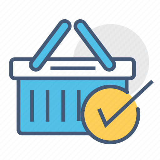 add basket, add cart, basket, checked, ecommerce, shopping, shopping basket icon
