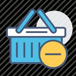 basket, ecommerce, online, remove, remove basket, shopping, shopping basket icon