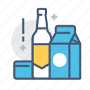 bottle, carton, object, package, packing, products, shopping icon