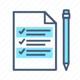 checked, notes, paper, pen, post, quote, write icon