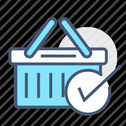 add basket, add cart, basket, checked, ecommerce, shopping, shopping basket icon