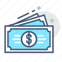 bills, cash savings, dollar, dollar bill, dollar bills, dollars, money icon