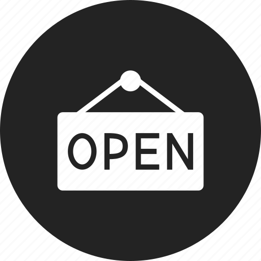 open, sign, signboard icon