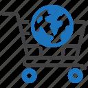 cart, global, international, shopping, worldwide icon