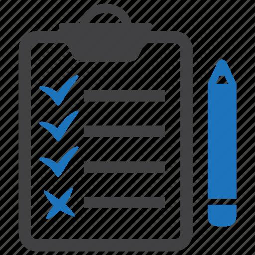 assessment, checklist, clipboard, list, note, pencil icon